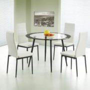 Acodia Dining Set Clear Glass & Black