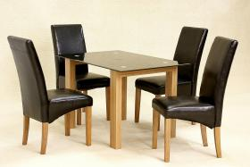 Adina Black Dining Set Small 4 Cyprus Chairs