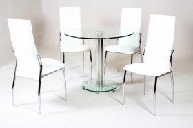 Alonza Dining Set Clear 4 Chairs