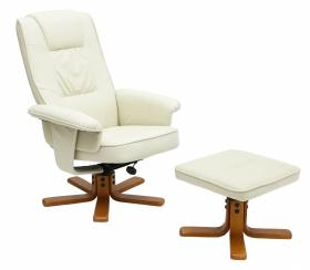 Althorpe Recliner with Footstool PU Brown