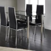Andora Dining Set with 4 Chairs Chrome & Black