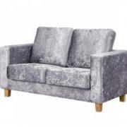 Chesterfield 2 Seater Sofa Crushed Velvet Silver