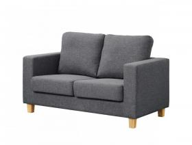 Chesterfield 2 Seater Sofa Linen Fabric Dark Grey