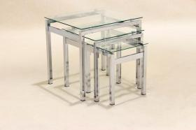 Epsom Nest of Tables Chrome Glass JOA