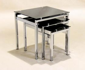 Eton Nest of Tables Chrome Black Glass JOA263