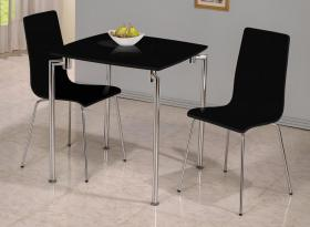 Fiji High Gloss Small Dining Set with 2 Chairs Black