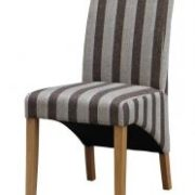 Kingsland Fabric Chair Solid Rubberwood Brown & Grey Stripe