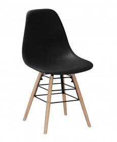 Lilly Plastic (PP) Chairs with Solid Beech Legs Black