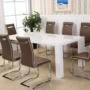 Melinda PU Chairs Chrome & Brown (2s)
