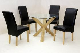 Saturn Medium Solid Oak Dining Table Glass 1200mm Round with 4 Chairs