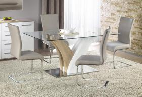 Simone HG Dining Table White & Nat. with Clear Glass Top