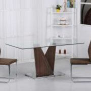 Socorro Glass Dining Table Walnut