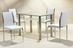 Vercelli Clear Dining Set 4 Chairs
