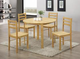 York Round Dining Set with 4 Chairs Natural Oak