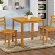 York Small Dining Set with 2 Chairs Natural Oak