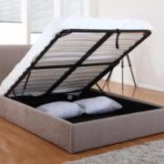Carrie Storage Chenille King Size Bed Mink
