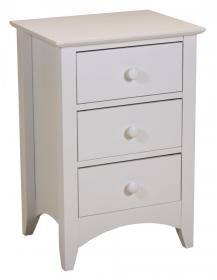 Chelsea White Bedside 3 Drawer