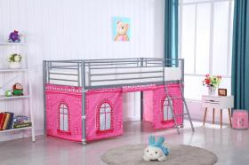 Midi Sleeper Metal Bunk with Castle Pattern Curtain