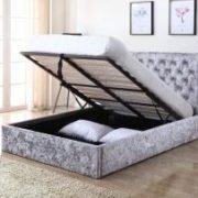 Yasmin Storage Crushed Velvet King Size Bed Silver